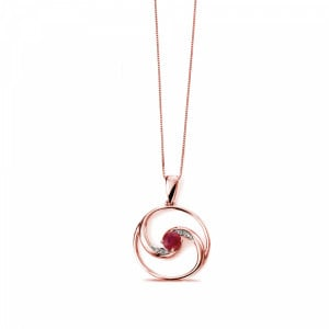 Open Circle Ruby and Round Diamond Pendant (27mm X 19mm)