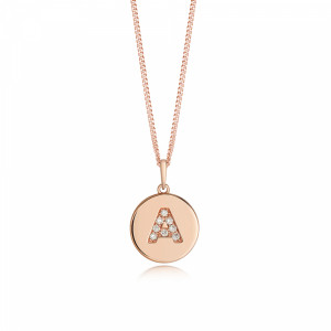 Disc 'A' Initial Name Diamond Necklace (10mm X 15mm)