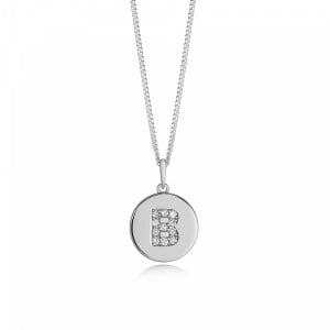 Disc 'B' Initial Name Diamond Necklace (10mm X 15mm)