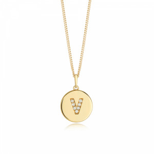 Disc 'V' Initial Name Diamond Necklace (10mm X 15mm)