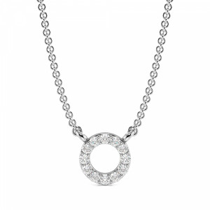 Pave Setting Round Diamond Circle Necklace in Gold & Platinum(6.2mm)