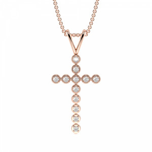 4 Prong Round  Diamond Cross Necklace in Gold & Platinum(24.2mm X 11.5mm)