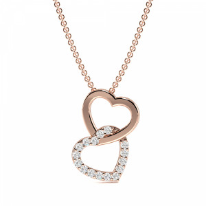 4 Prong Round Double Heart Diamond Heart Pendants(12.8mm X 9.7mm)