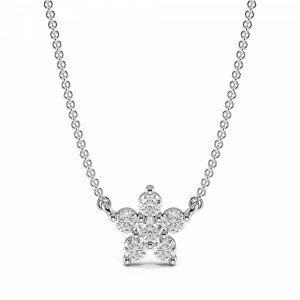 4 Prong Round Flower Style Diamond Cluster Necklace(6.2mm X 6.4mm)