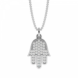 Pave Setting Round Hamsa Style Diamond Cluster Necklace(13.0mm X 8.5mm)