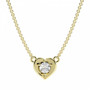 4 Prong Round Solitaire Style Diamond Heart Pendants(5.9mm X 7.5mm)