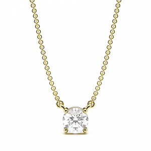 4 Prong Setting Round Diamond Solitaire Pendant for Ladies