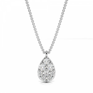 Pave Setting Round Pear Shape Necklace Diamond Cluster Necklace(8.0mm X 4.7mm)