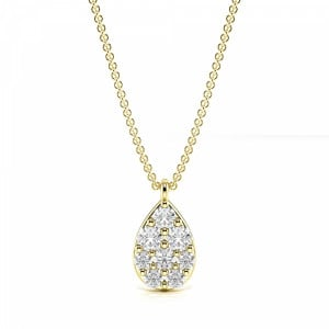 Round 0.15 I1 H-I ABELINI 9K Yellow Gold Pave Setting Round Pear Shape Necklace Diamond Cluster Necklace(8.0mm X 4.7mm)