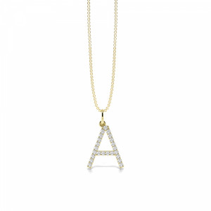 Letter 'A' Diamond Initial Pendant Necklaces in White, Yellow And Rose Gold(16mm X 12mm )