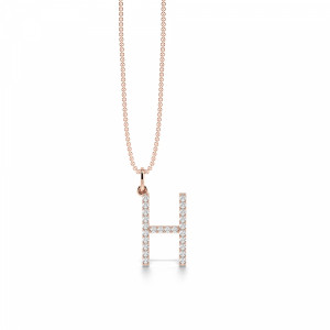 Letter H Diamond Initial Pendant Necklaces in White, Yellow And Rose Gold(17mm X 10mm )
