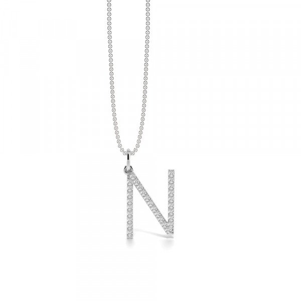 Letter 'N' Diamond Initial Pendant Necklaces in White, Yellow And Rose Gold(17mm X 11mm )