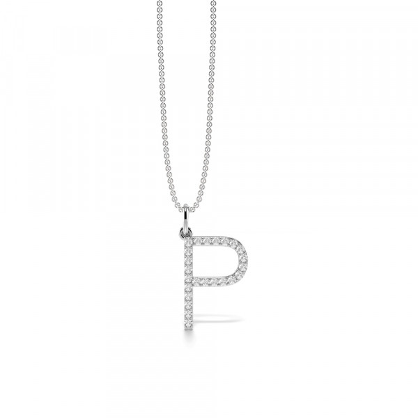 Letter 'P' Diamond Initial Pendant Necklaces in White, Yellow And Rose Gold(17mm X 11mm )