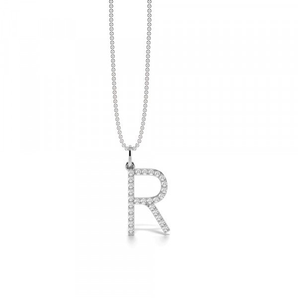 Letter 'R' Diamond Initial Pendant Necklaces in White, Yellow And Rose Gold(17mm X 10mm )