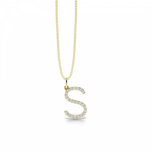 Letter 'S' Diamond Initial Pendant Necklaces in White, Yellow And Rose Gold(15mm X 11mm )