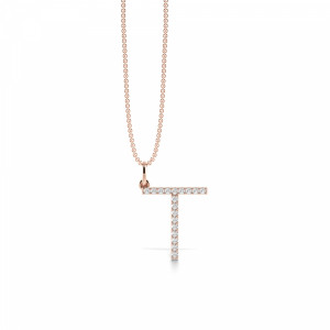 Letter T Diamond Initial Pendant Necklaces in White, Yellow And Rose Gold(17mm X 14mm )