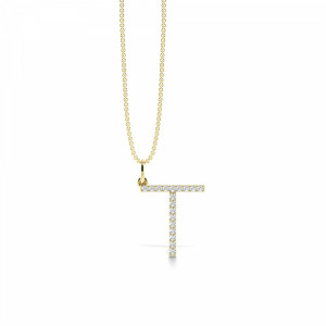 Letter 'T' Diamond Initial Pendant Necklaces in White, Yellow And Rose Gold(17mm X 14mm )