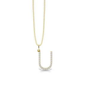 Letter 'U' Diamond Initial Pendant Necklaces in White, Yellow And Rose Gold(16mm X 11mm )