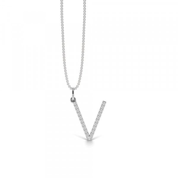 Letter 'V' Diamond Initial Pendant Necklaces in White, Yellow And Rose Gold(17mm X 13mm )