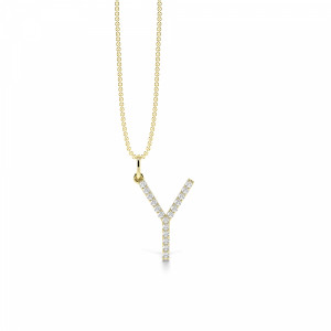 Letter 'Y' Diamond Initial Pendant Necklaces in White, Yellow And Rose Gold(19mm X 12mm )