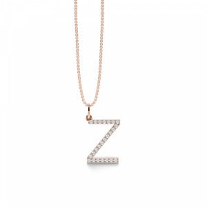 Letter Z Diamond Initial Pendant Necklaces in White, Yellow And Rose Gold(16mm X 11mm )