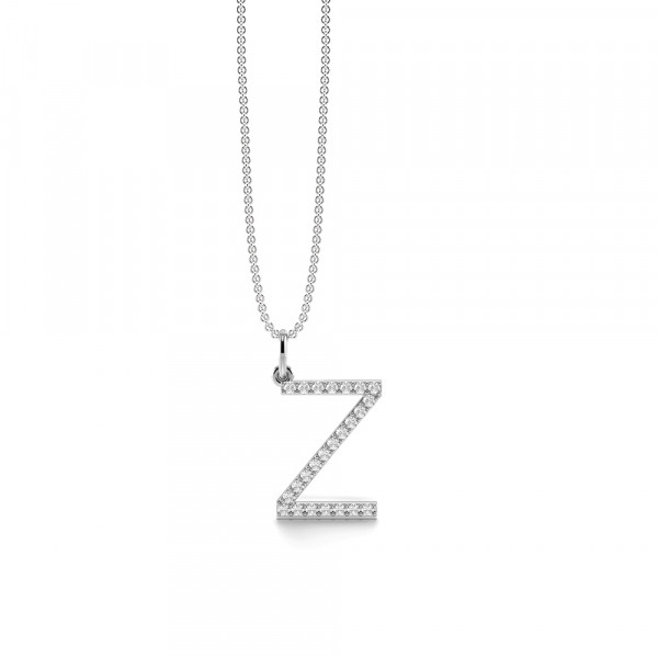 Letter 'Z' Diamond Initial Pendant Necklaces in White, Yellow And Rose Gold(16mm X 11mm )