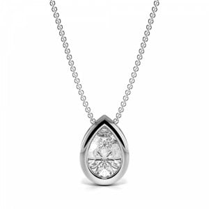 Bezel Setting Floating Tear Drop Solitaire Diamond Pendant Necklace