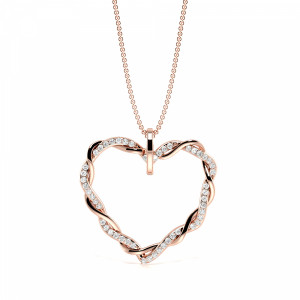 Pave Setting Round Diamond Twisted Diamond Heart Necklace  (23.50mm X 25.0mm)
