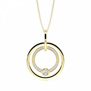 Round 0.75 VS F-G ABELINI 9K Yellow Gold Pave Setting Round Diamond Luxurious Circle Pendant Necklace  (40.00mm X 30.00mm)