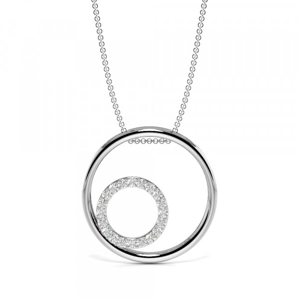 Pave Setting Round Diamond Double Circle Pendant Necklace  (18.00mm X 18.00mm)