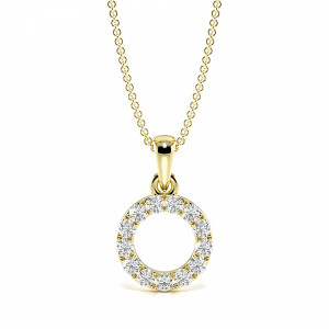 4 Prongs Round Diamond Must Have Dangling Circle Pendant Necklace  (14.00mm X 8.80mm)