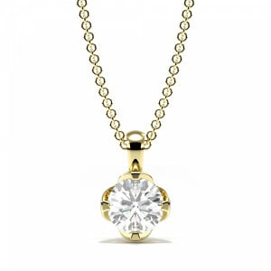 Round 0.45 VVS2 F ABELINI 9K Yellow Gold 4 Pring Setting Round Diamond Crown Style Solitaire Pendant Necklace