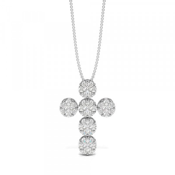 Pave Setting Cluster Diamond Cross Necklace for Womens (18.0mm X 13.40mm)