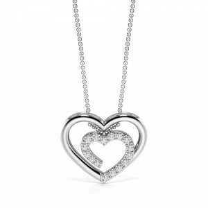 Pave Setting Diamond Double Heart Necklace in Gold and Platinum (11.80mm X 14.50mm)