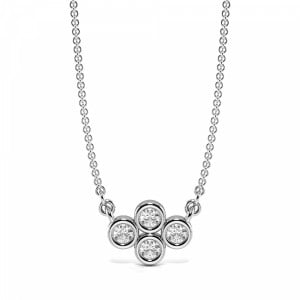 Bezel Set Four Diamond Cluster Pendant Necklace (5.80mm X 7.80mm)