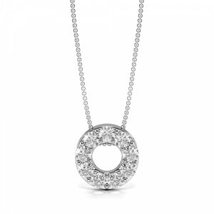 Pave Setting Small Diamond Circle Pendant Necklace (10.60mm  X 10.60mm)