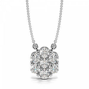 Diamond Cluster Pendant for Women in Gold and Platinum (10.50mm X 9.20mm)