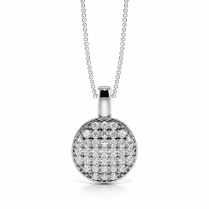 Pave Setting Dangling Disc Diamond Circle Pendant Necklace (16.00mm X 11.00mm)