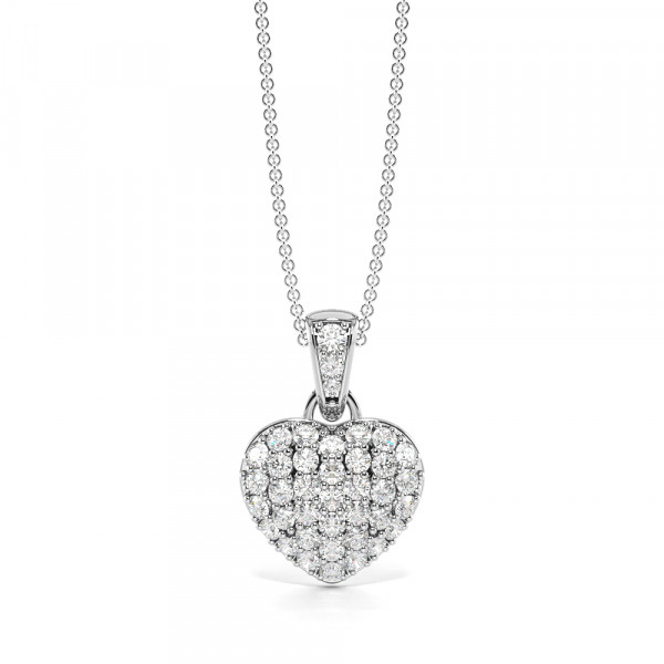 Pave Setting Solid Heart Diamond Statement Necklaces (14.50mm X 10.00mm)