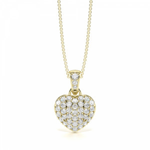 Round 0.35 SI F-G ABELINI 9K Yellow Gold Pave Setting Solid Heart Diamond Statement Necklaces (14.50mm X 10.00mm)