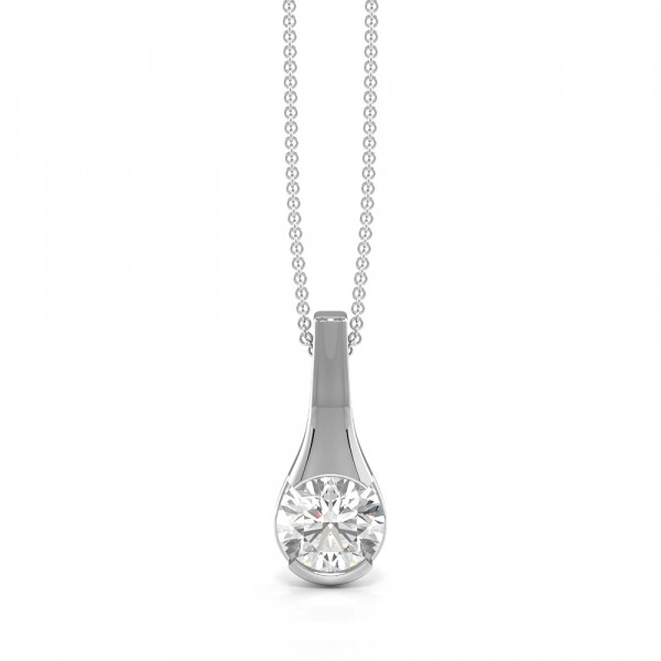 Channel Setting Drop Single diamond solitaire necklace (14.20mm X 6.00mm)