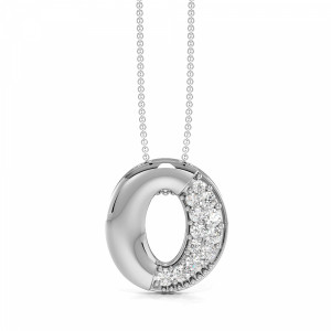 Pave Setting Oval Diamond Circle Pendant Necklace (14.00mm X 12.80mm)
