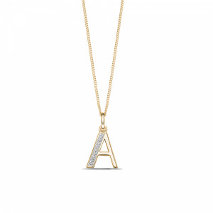 Art Deco Initial 'A' Name Diamond Pendant Necklace (18mm X 10mm)