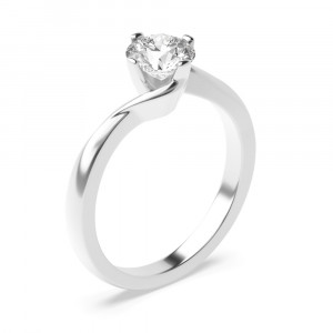 Round 1.00 VS2 G ABELINI 18K White Gold Round Cut Solitaire Diamond Engagement Rings In Rose / Yellow / White Gold Prong Set