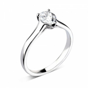 Pear Solitaire Engagement Rings in Low Set Diamond