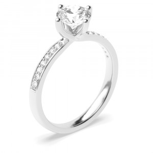 Round Cut Shoulder Set Accented Side Diamond Engagement Ring