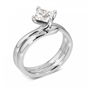 Princess 1.20 SI1 E ABELINI 9K Rose Gold Round Solitaire Diamond Engagement Rings In Yellow Gold Prong Setting
