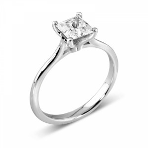 4 Prong Setting Princess Diamond Solitaire Engagement Ring