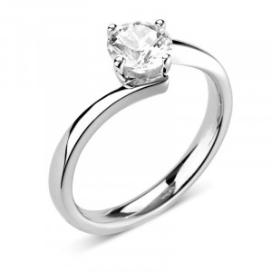 Round 0.40 I1 I ABELINI 18K White Gold Prong Set Round Solitaire Diamond Engagement Rings In White Gold / Platinum
