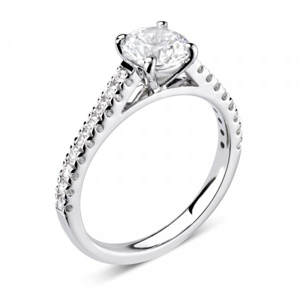 Round Shoulder Set Accented Side Diamond Engagement Ring